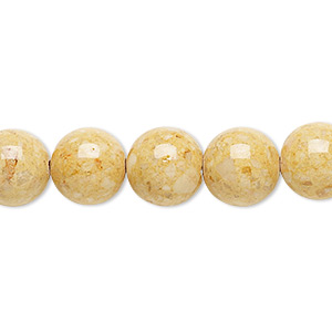 bead, riverstone (dyed), light brown, 10mm round, b grade, mohs hardness 3-1/2. sold per 16-inch strand.