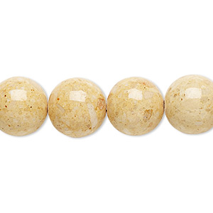bead, riverstone (dyed), light brown, 12mm round, b grade, mohs hardness 3-1/2. sold per 16-inch strand.