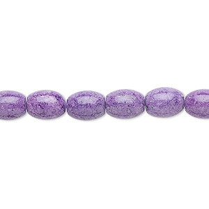 bead, riverstone (dyed), light purple, 8x6mm oval, b grade, mohs hardness 3-1/2. sold per 16-inch strand.
