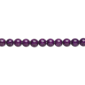 bead, riverstone (dyed), violet, 4mm round, b grade, mohs hardness 3-1/2. sold per pkg of (2) 16-inch strands.