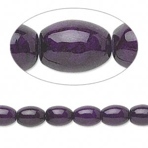 bead, riverstone (dyed), violet, 8x6mm oval, b grade, mohs hardness 3-1/2. sold per 16-inch strand.