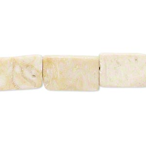 bead, riverstone (natural), 15x10mm-17x10mm flat rectangle, c- grade, mohs hardness 3-1/2. sold per 15-inch strand.