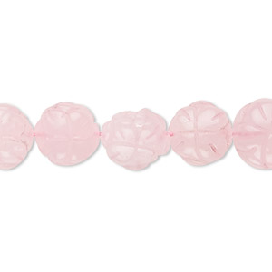 bead, rose quartz (dyed), 12x12mm hand-cut carved flower, b- grade, mohs hardness 7. sold per 16-inch strand.