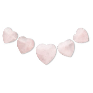 bead, rose quartz (natural), 12x12mm-17x17mm graduated heart fan, b grade, mohs hardness 7. sold individually.
