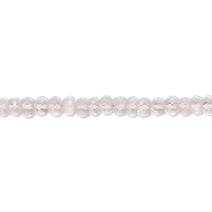 bead, rose quartz (natural), 3x2mm-4x3mm hand-cut faceted rondelle, b grade, mohs hardness 7. sold per 16-inch strand.