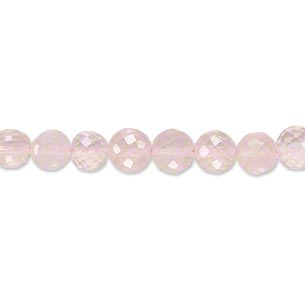bead, rose quartz (natural), 6-8mm hand-cut faceted graduated round, b grade, mohs hardness 7. sold per 18-inch strand.