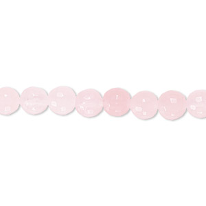bead, rose quartz (natural), 6mm tumbled faceted round, b grade, mohs hardness 7. sold per 16-inch strand.