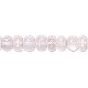 bead, rose quartz (natural), 8x4mm-9x6mm hand-cut faceted rondelle, b+ grade, mohs hardness 7. sold per 7-inch strand.