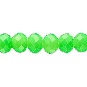 bead, rubber-coated glass, matte neon green, 10x8mm faceted rondelle. sold per 8-inch strand, approximately 25 beads.
