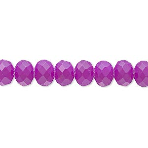 bead, rubber-coated glass, matte neon purple, 8x6mm faceted rondelle. sold per 8-inch strand, approximately 30 beads.