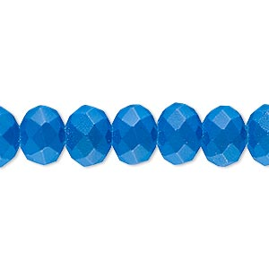 bead, rubber-coated glass, matte neon turquoise blue, 10x8mm faceted rondelle. sold per 8-inch strand, approximately 25 beads.