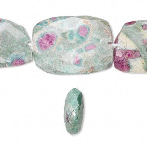 bead, ruby in fuchsite (natural), medium to large hand-cut faceted flat nugget, mohs hardness 2 to 3. sold per 16-inch strand.