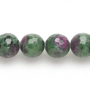bead, ruby in zoisite (natural), 12-13mm faceted round, b- grade, mohs hardness 6 to 7. sold per 15-inch strand.