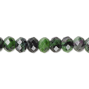 bead, ruby in zoisite (natural), 8x6mm faceted rondelle with 0.5-1.5mm hole, b grade, mohs hardness 6 to 7. sold per 16-inch strand.