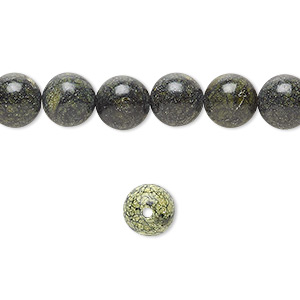 bead, russian serpentine (natural), 8mm round, b grade, mohs hardness 2-1/2 to 5. sold per 16-inch strand.