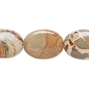 bead, safari jasper (natural), 20x15mm flat oval, b grade, mohs hardness 6-1/2 to 7. sold per 16-inch strand.