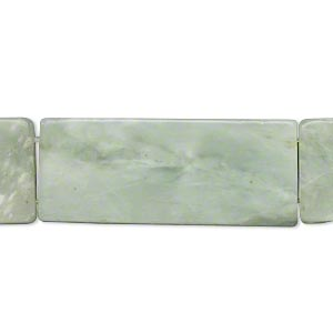 bead, sea green new jade (coated), 38x15mm-39x17mm double-drilled flat rectangle, c grade, mohs hardness 2-1/2 to 6. sold per 15-inch strand.