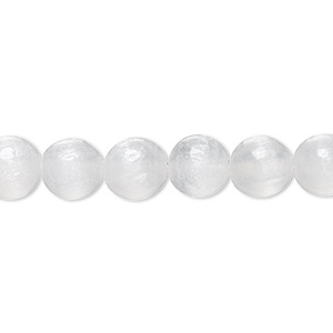 bead, selenite (natural), 8mm round, b grade, mohs hardness 2 to 2-1/2. sold per 8-inch strand, approximately 25 beads.