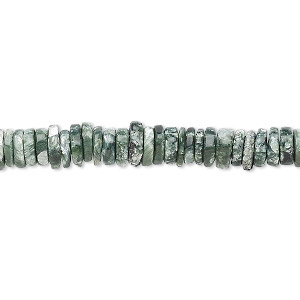 bead, seraphinite (natural), 4x1mm-5x2mm hand-cut rondelle with 0.4-1.4mm hole, b grade, mohs hardness 2 to 2-1/2. sold per 8-inch strand, approximately 100-150 beads.