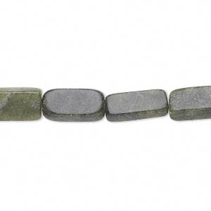 bead, serpentine (natural), 13x6mm-14x9mm flat rectangle, c grade, mohs hardness 2-1/2 to 6. sold per 16-inch strand. minimum 5 per order.