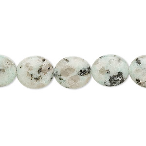 bead, sesame jasper (natural), opaque to semitranslucent, 14x12mm flat oval, b grade, mohs hardness 6-1/2 to 7. sold per 16-inch strand.