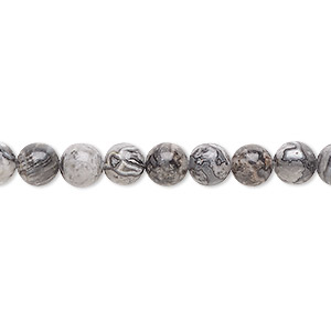 bead, silver crazy lace agate (natural), 6mm round, b grade, mohs hardness 6-1/2 to 7. sold per 16-inch strand.