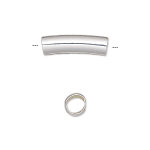 bead, silver-finished brass, 20x6mm curved round tube, 5mm hole. sold per pkg of 6.