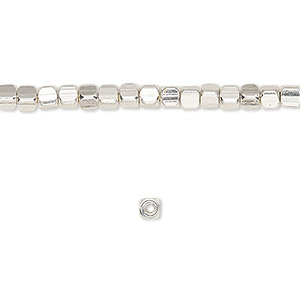 bead, silver-finished pewter (zinc-based alloy), 3x3mm rounded cube. sold per 16-inch strand.