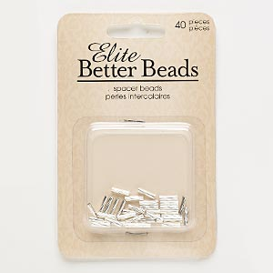 bead, silver-finished pewter (zinc-based alloy), 8x2mm twisted tube. sold per pkg of 40.