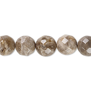 bead, silver leaf jasper (natural), 10mm faceted round with 0.5-1.5mm hole, b grade, mohs hardness 6-1/2 to 7. sold per 16-inch strand.