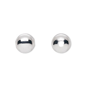 bead, silver-plated brass, 10mm round with 2.5mm hole. sold per pkg of 10.