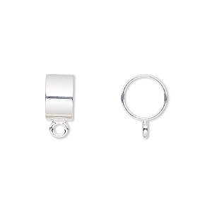 bead, silver-plated brass, 10x6mm round tube with closed loop, 8mm hole. sold per pkg of 10.