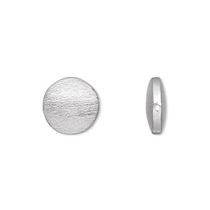bead, silver-plated brass, 12mm brushed puffed flat round. sold per pkg of 4.