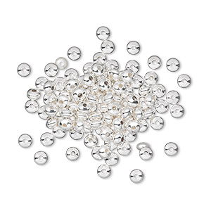 bead, silver-plated brass, 3x2mm smooth rondelle. sold per pkg of 100.