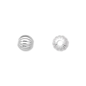 bead, silver-plated brass, 8mm corrugated round with 2mm hole. sold per pkg of 10.