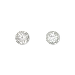 bead, silver-plated brass, 8mm filigree round. sold per pkg of 100.