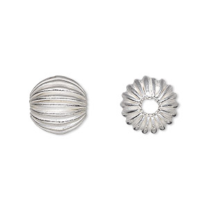 bead, silver-plated copper, 12mm corrugated round, 1.5-4mm hole. sold per pkg of 8.