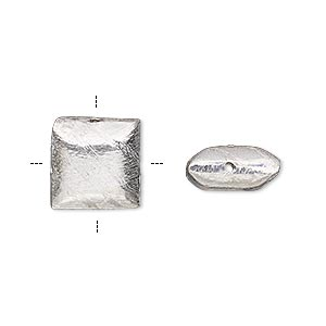 bead, silver-plated copper, 12x12mm cross-drilled brushed puffed square with lines. sold per pkg of 4.