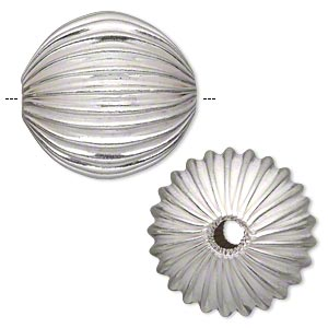bead, silver-plated copper, 40mm corrugated round with 5.5-7.5mm hole. sold individually.