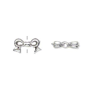 bead, silver-plated pewter (tin-based alloy), 13x7mm bow, fits 6x6mm cube bead. sold per pkg of 4.