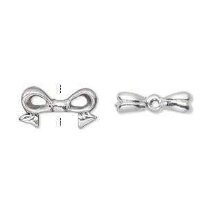 bead, silver-plated pewter (tin-based alloy), 16x9mm bow, fits 8x8mm cube bead. sold per pkg of 4.