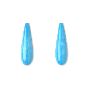 bead, sleeping beauty turquoise (natural), 22x6mm half-drilled teardrop, a- grade, mohs hardness 5 to 6. sold per pkg of 2.