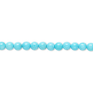 bead, sleeping beauty turquoise (natural), 4mm round, a- grade, mohs hardness 5 to 6. sold per 16-inch strand.