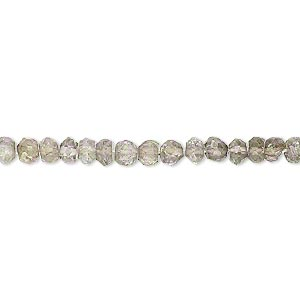 bead, smoky quartz (coated / heated / irradiated), shaded luster, 3x2mm-5x3mm hand-cut faceted rondelle, c grade, mohs hardness 7. sold per 14-inch strand.