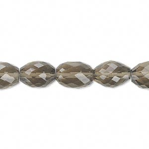 bead, smoky quartz (heated / irradiated), 11x8mm hand-cut faceted oval, b grade, mohs hardness 7. sold per pkg of 10.