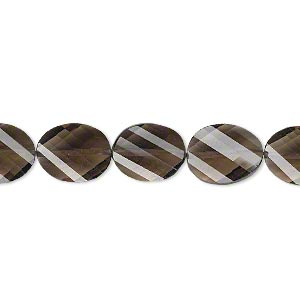bead, smoky quartz (heated / irradiated), 11x9mm hand-cut faceted twisted flat oval, b+ grade, mohs hardness 7. sold per pkg of 5.