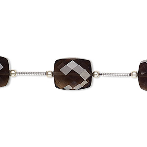 bead, smoky quartz (heated / irradiated), 12x10mm-14x10mm hand-cut faceted rectangle, b grade, mohs hardness 7. sold per pkg of 5 beads.