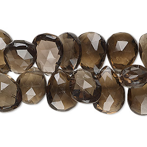 bead, smoky quartz (heated / irradiated), 12x9mm-17x13mm hand-cut top-drilled faceted puffed teardrop, b- grade, mohs hardness 7. sold per 4-inch strand.