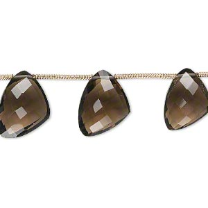 bead, smoky quartz (heated / irradiated), 12x9x9mm-15x12x12mm graduated hand-cut top-drilled faceted irregular triangle, b+ grade, mohs hardness 7. sold per pkg of 6 beads.