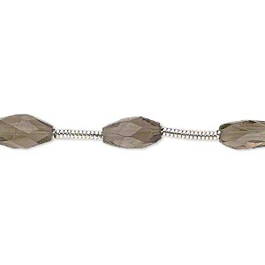 bead, smoky quartz (heated / irradiated), 5x3mm-7x4mm hand-cut faceted oval, c grade, mohs hardness 7. sold per pkg of 6 beads.